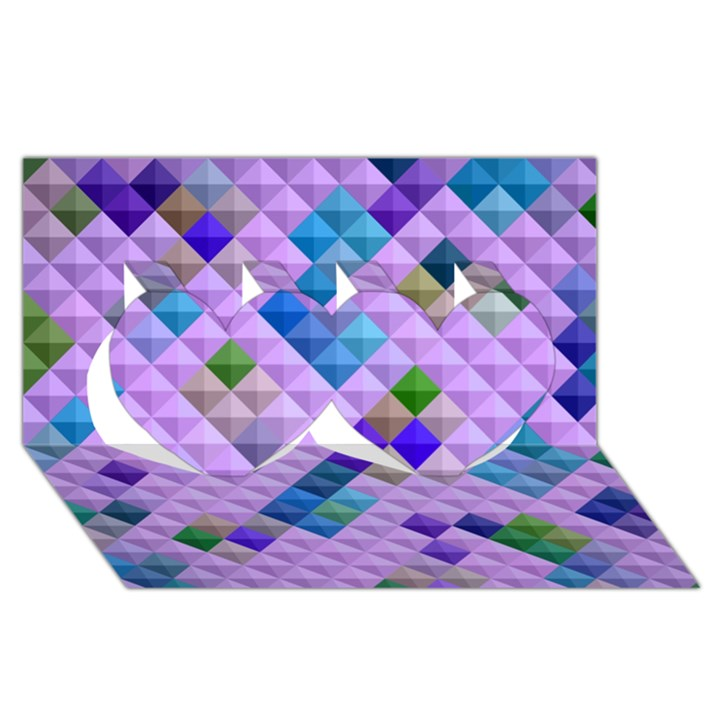Mosaic & Co 01b Twin Hearts 3D Greeting Card (8x4)