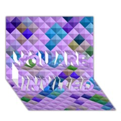 Mosaic & Co 01b You Are Invited 3d Greeting Card (7x5)  by MoreColorsinLife