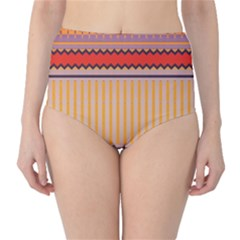 Stripes And Chevrons High-waist Bikini Bottoms by LalyLauraFLM