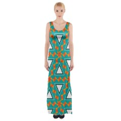 Triangles And Other Shapes Pattern Maxi Thigh Split Dress