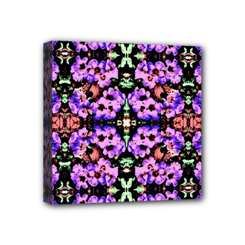Purple Green Flowers With Green Mini Canvas 4  X 4  by Costasonlineshop