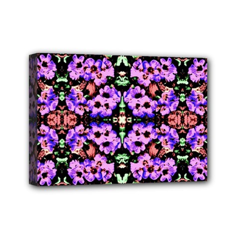 Purple Green Flowers With Green Mini Canvas 7  X 5  by Costasonlineshop