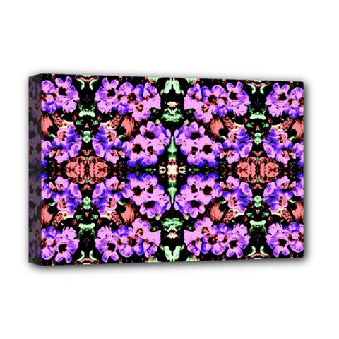 Purple Green Flowers With Green Deluxe Canvas 18  X 12   by Costasonlineshop
