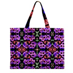 Purple Green Flowers With Green Zipper Tiny Tote Bags by Costasonlineshop
