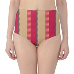 Stripes And Other Shapes High Waist Bikini Bottoms by LalyLauraFLM