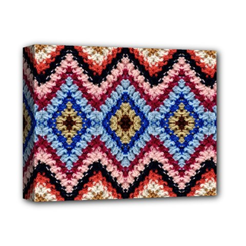 Colorful Diamond Crochet Deluxe Canvas 14  X 11  by Costasonlineshop
