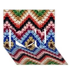 Colorful Diamond Crochet I Love You 3d Greeting Card (7x5)  by Costasonlineshop