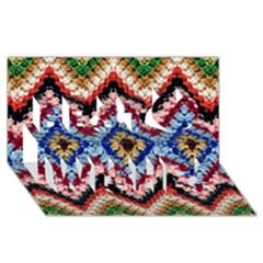 Colorful Diamond Crochet Best Wish 3d Greeting Card (8x4)  by Costasonlineshop