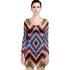 Colorful Diamond Crochet Long Sleeve Bodycon Dresses by Costasonlineshop
