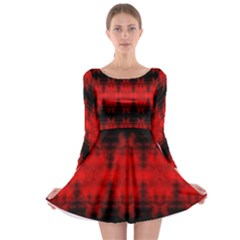 Red Black Gothic Pattern Long Sleeve Skater Dress by Costasonlineshop