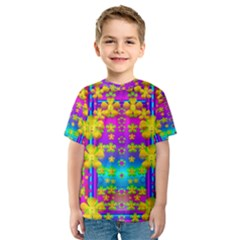 Outside The Curtain It Is Peace Florals And Love Kid s Sport Mesh Tee