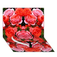 Beautiful Red Roses Heart Bottom 3d Greeting Card (7x5)  by Costasonlineshop
