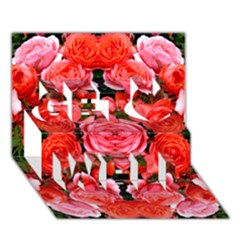 Beautiful Red Roses Get Well 3d Greeting Card (7x5)  by Costasonlineshop