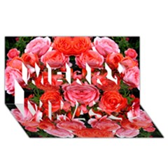 Beautiful Red Roses Merry Xmas 3d Greeting Card (8x4)  by Costasonlineshop