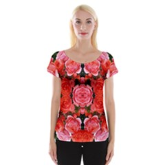 Beautiful Red Roses Women s Cap Sleeve Top by Costasonlineshop