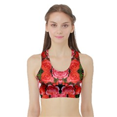 Beautiful Red Roses Women s Sports Bra With Border by Costasonlineshop