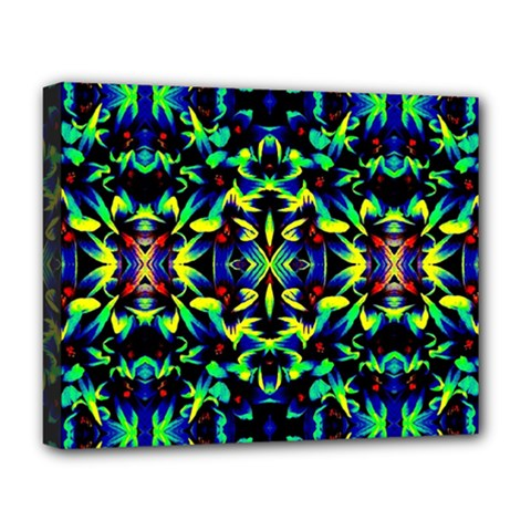 Cool Green Blue Yellow Design Deluxe Canvas 20  X 16   by Costasonlineshop