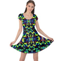 Cool Green Blue Yellow Design Cap Sleeve Dresses by Costasonlineshop