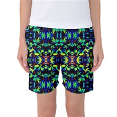 Cool Green Blue Yellow Design Women s Basketball Shorts by Costasonlineshop