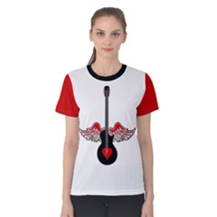 Flying Heart Guitar Women s Cotton Tee by waywardmuse