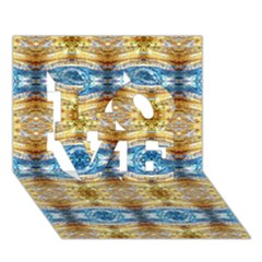 Gold And Blue Elegant Pattern Love 3d Greeting Card (7x5)