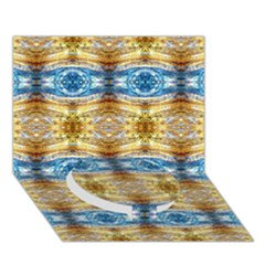 Gold And Blue Elegant Pattern Circle Bottom 3d Greeting Card (7x5)