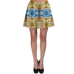 Gold And Blue Elegant Pattern Skater Skirts by Costasonlineshop