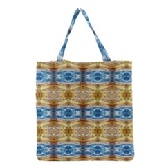 Gold And Blue Elegant Pattern Grocery Tote Bags by Costasonlineshop