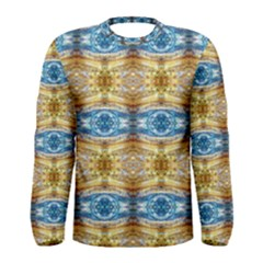 Gold And Blue Elegant Pattern Men s Long Sleeve T Shirts by Costasonlineshop