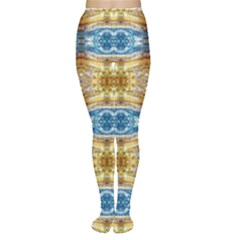 Gold And Blue Elegant Pattern Women s Tights by Costasonlineshop