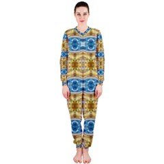 Gold And Blue Elegant Pattern Onepiece Jumpsuit (ladies)  by Costasonlineshop