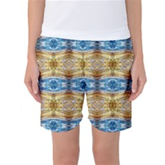 Gold And Blue Elegant Pattern Women s Basketball Shorts by Costasonlineshop