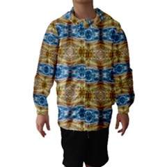 Gold And Blue Elegant Pattern Hooded Wind Breaker (kids) by Costasonlineshop