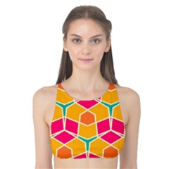 Shapes In Retro Colors Pattern Tank Bikini Top by LalyLauraFLM