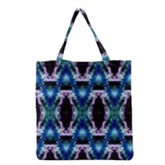 Blue, Light Blue, Metallic Diamond Pattern Grocery Tote Bags by Costasonlineshop