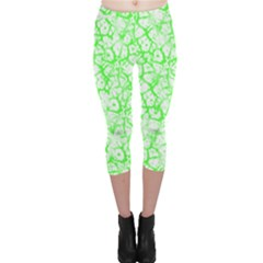 Officially Sexy Neon & White Cracked Pattern Capri Leggings