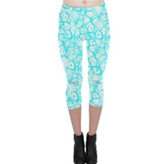 Officially Sexy Turquoise & White Cracked Pattern Capri Leggings  by OfficiallySexy