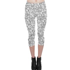 Officially Sexy Grey & White Cracked Pattern Capri Leggings by OfficiallySexy