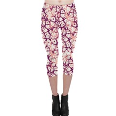 Officially Sexy Soft Pink & Plum Cracked Pattern Capri Leggings  by OfficiallySexy