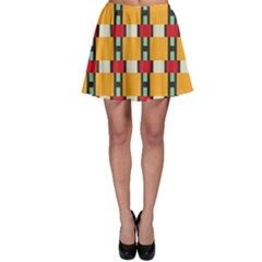 Rectangles And Squares Pattern Skater Skirt by LalyLauraFLM