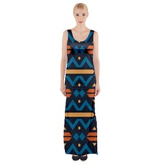 Rhombus  Circles And Waves Pattern Maxi Thigh Split Dress by LalyLauraFLM