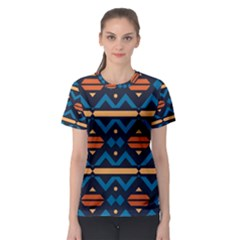 Rhombus  Circles And Waves Pattern Women s Sport Mesh Tee by LalyLauraFLM