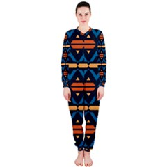 Rhombus  Circles And Waves Pattern Onepiece Jumpsuit (ladies) by LalyLauraFLM