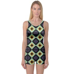 Pixelated Pattern Women s Boyleg One Piece Swimsuit by LalyLauraFLM