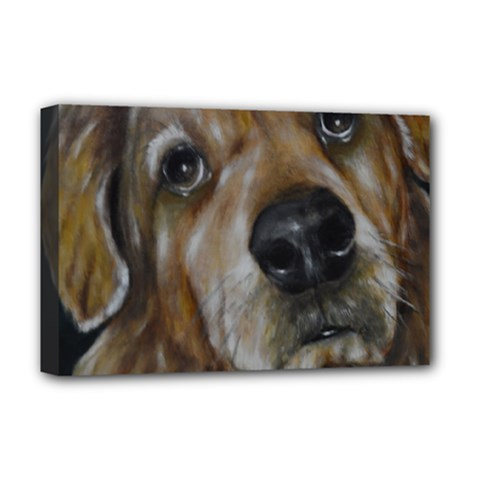 Selfie Of A Golden Retriever Deluxe Canvas 18  X 12   by timelessartoncanvas