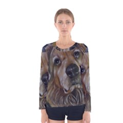 Selfie Of A Golden Retriever Women s Long Sleeve T Shirts by timelessartoncanvas