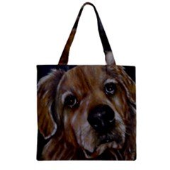 Selfie Of A Golden Retriever Zipper Grocery Tote Bags by timelessartoncanvas