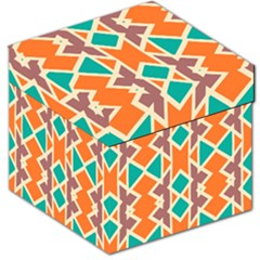 Rhombus Triangles And Other Shapes Storage Stool by LalyLauraFLM