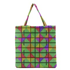 3d Rhombus Pattern Grocery Tote Bag by LalyLauraFLM