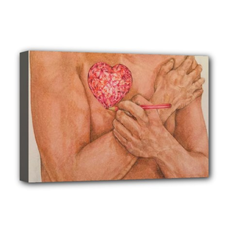 Embrace Love  Deluxe Canvas 18  X 12   by KentChua
